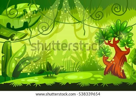 cartoon jungle background tropical landscape vector stock vector rh shutterstock com jungle cartoon background free cartoon jungle background vector