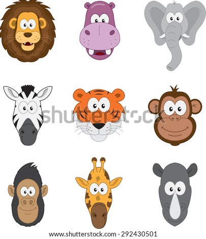 Cartoon jungle savannah and african animals set  - stock vector