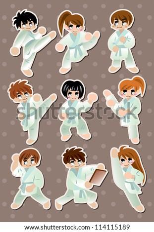 cartoon Karate Player stickers - stock vector