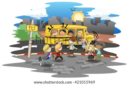 Cartoon kid and kindergarten or elementary students walking up the bus at bus stop to go to school. Vector - stock vector