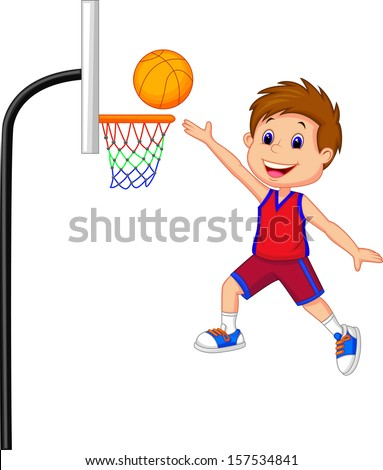 Cartoon kid playing basket ball - stock vector