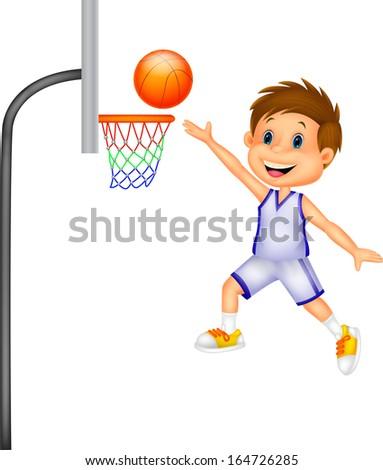 Cartoon kid playing basket ball - stock vector