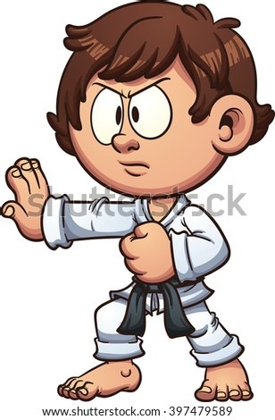 Cartoon kid practicing karate. Vector clip art illustration with simple gradients. Head and body on separate layers. - stock vector