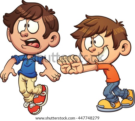 Cartoon kid pushing another kid. Vector clip art illustration with simple gradients. Each on a separate layer. - stock vector