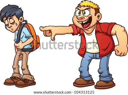 Cartoon kid suffering from bullying. Vector illustration with simple gradients. Each character in a separate layer for easy editing. - stock vector