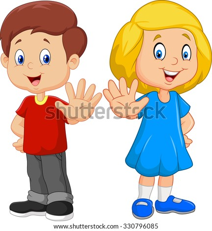 Cartoon kids are showing a stop sign isolated on white background - stock vector