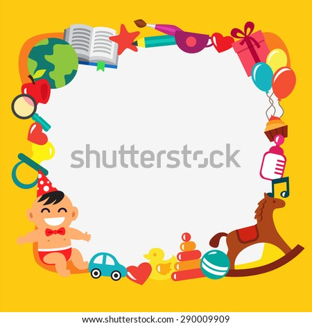 Cartoon kids frame. Baby shower, children party, birthday or holiday event. Infant in a bow tie and party hat. Toys and presents. Flat style vector illustration and icons. - stock vector
