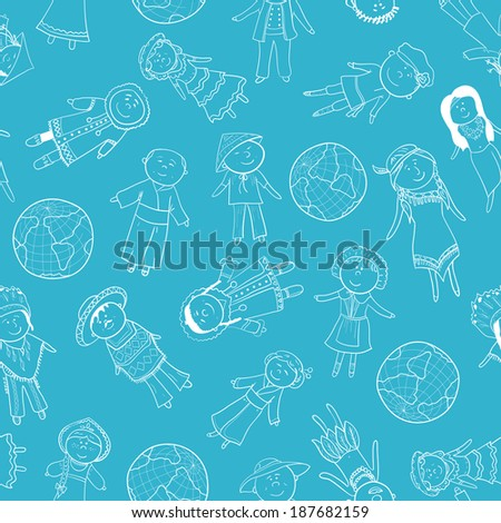 Cartoon kids in different traditional costumes, seamless pattern - stock vector