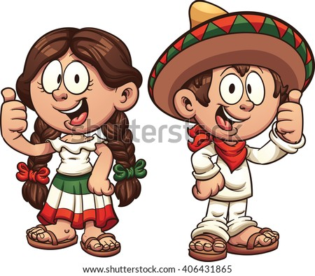 Cartoon kids in traditional Mexican clothing. Vector clip art illustration with simple gradients. Some elements on separate layers. - stock vector