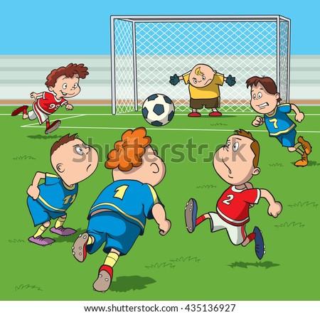 Cartoon Kids Playing Football In The Stadium Vector Illustration