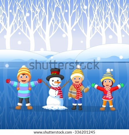 Cartoon kids playing on snow in winter time - stock vector