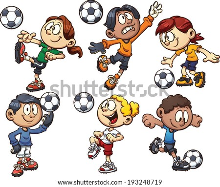 Cartoon kids playing soccer. Vector clip art illustration with simple gradients. Each on a separate layer.  - stock vector