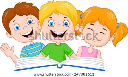 Cartoon kids reading book - stock vector