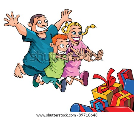 Cartoon kids running to their Christmas gifts. Isolated