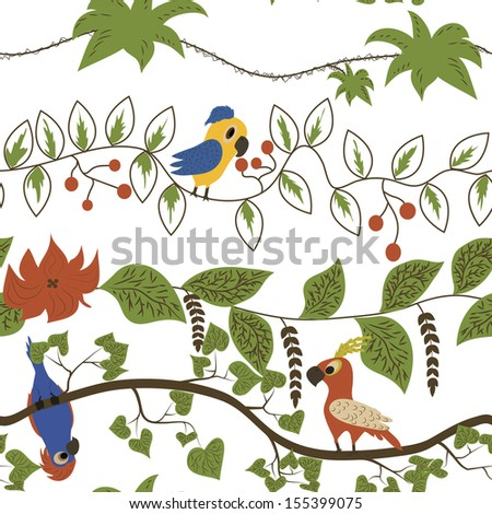 Cartoon kids seamless pattern with parrots - stock vector