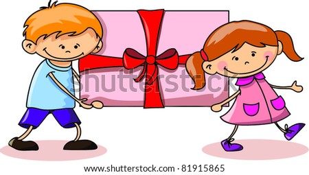 cartoon kids with a gift