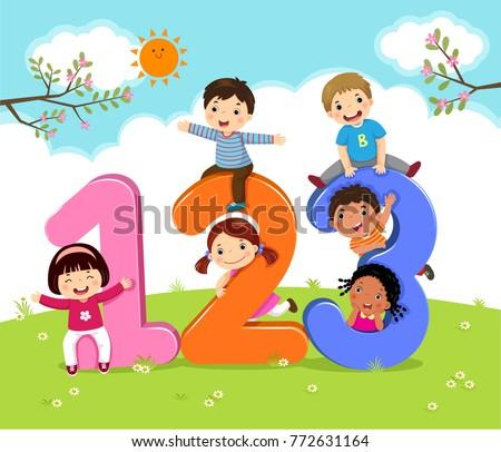 cartoon kids 123 numbers stock vector 772631164 - shutterstock