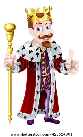 Cartoon king wearing a crown, holding a sceptre and giving a thumbs up