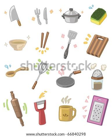 cartoon kitchen utensils - stock vector