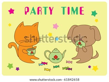 Cartoon kitten and puppy drink tea with candies. - stock vector