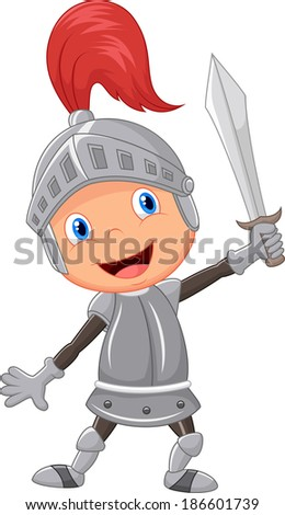 Cartoon knight boy - stock vector