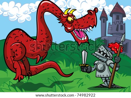 Cartoon knight facing a big red dragon. A castle in the back ground