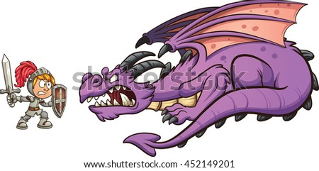 Cartoon knight fighting a dragon. Vector clip art illustration with simple gradients. Each on a separate layer. - stock vector