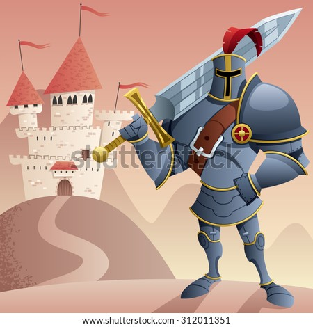 Cartoon knight in front of castle. No transparency used. Basic (linear) gradients. - stock vector