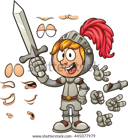 Cartoon knight with different expressions. Vector clip art illustration with simple gradients. Some elements are on separate layers. - stock vector