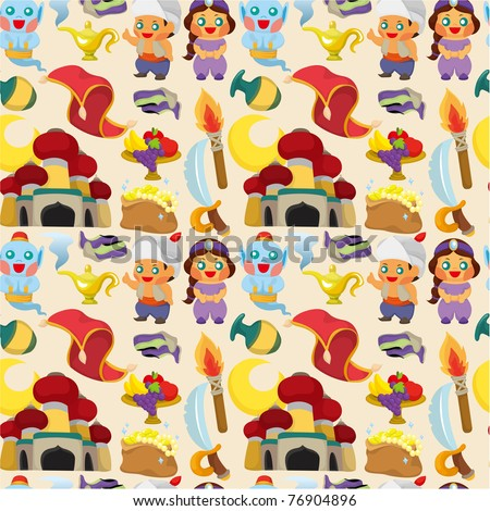 cartoon Lamp of Aladdin seamless pattern