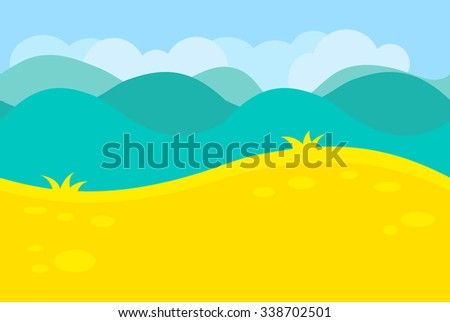 Cartoon Landscape of Green Meadows, Fields, Hills and Trees for Game, Vector Illustration - stock vector