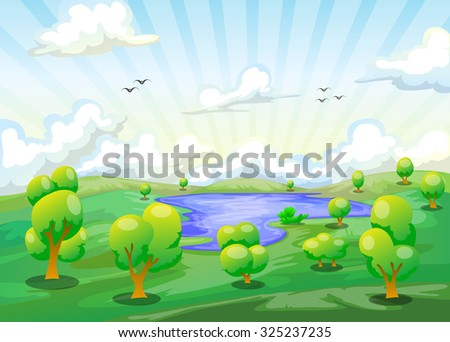 cartoon landscape of lake with various tree and cloudy sky background in green color - stock vector