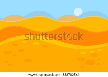 Cartoon Landscape of Yellow Desert Dunes for Game, Vector Illustration - stock vector