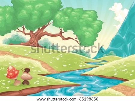 Cartoon landscape with stream. Vector illustration. - stock vector