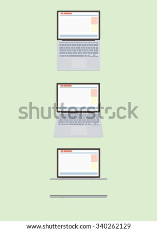 Cartoon laptop in different angles. - stock vector