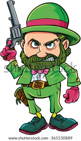 Cartoon Leprechaun cowboy with six gun. Isolated on white