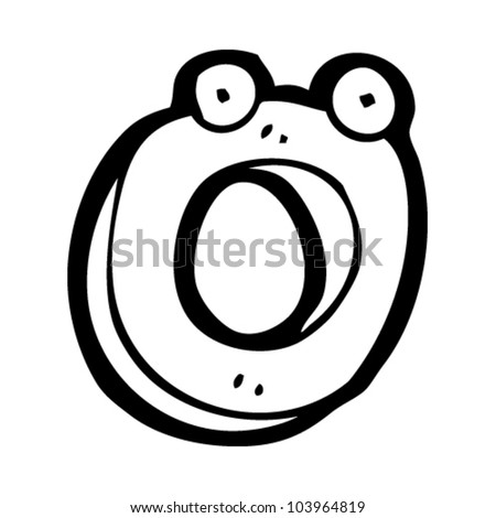cartoon letter o with face - stock vector