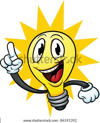 Cartoon Lightbulb Having An Idea. Vector Illustration With Simple  Gradients, Lightbulb And Background Shape