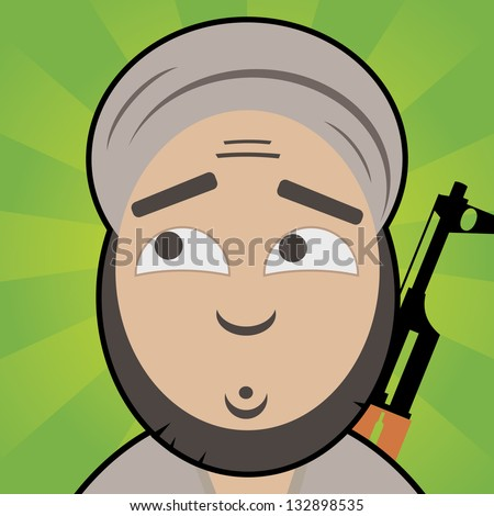 cartoon like terrorist with innocent, confused face and rifle on his back - stock vector