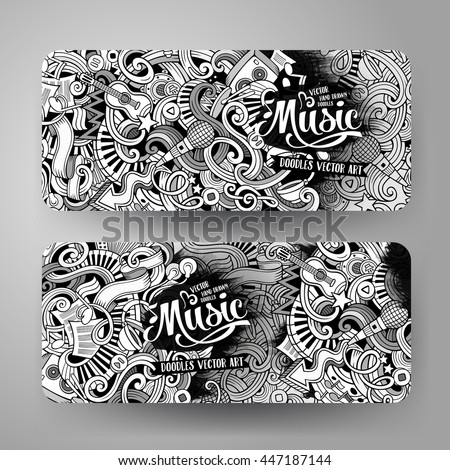 Cartoon line art vector hand drawn stock vector 447187144 cartoon line art vector hand drawn doodles music corporate identity 2 horizontal banners design pronofoot35fo Choice Image