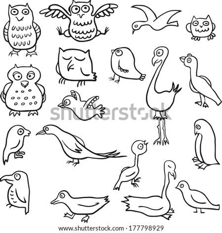 cartoon line drawing birds, hand drawn vector illustration - stock vector