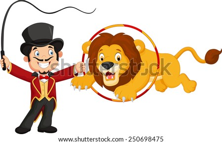 Cartoon lion jumping through ring - stock vector