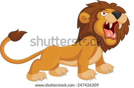 Cartoon lion roaring - stock vector