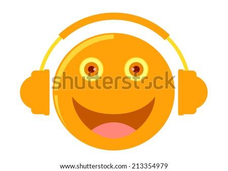 cartoon listening to music - stock vector