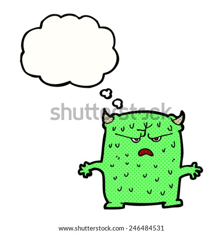 cartoon little alien with thought bubble - stock vector