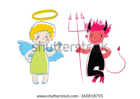 Cartoon little angel and devil. Vector illustration. Simple colored sketch. Two little spirit adviser as cute baby. Funny angel and demon character. As sign, symbol, icon.Isolated on white. Eps 10. - stock vector
