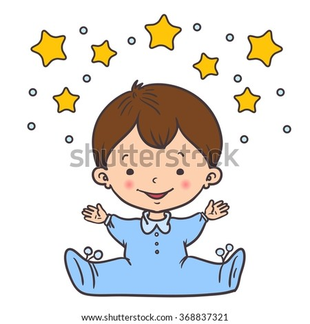 Cartoon little baby boy. Vector illustration. - stock vector