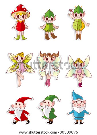 cartoon little baby fairy icon - stock vector