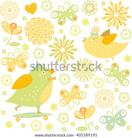 Cartoon little birds, butterflies, flowers colorful illustration for wedding celebration invitation, valentines day, happy easter, birthday greeting card, family events. Vector seamless pattern.   - stock vector