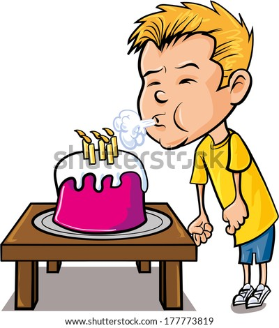 Cartoon little boy blowing out candles. Isolated on white - stock vector